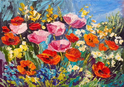 Plakat Oil painting of spring flowers on canvas, art work