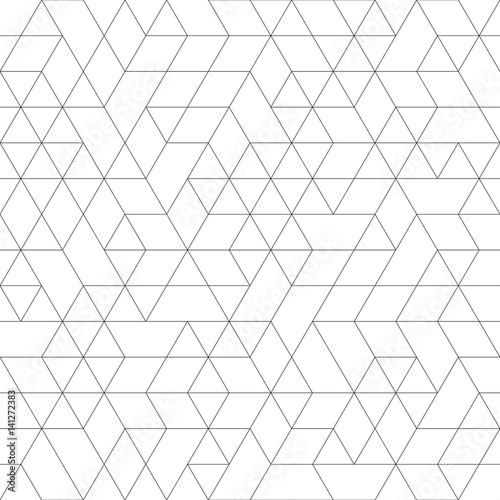 Seamless black and white background for your designs. Modern vector ornament. Geometric abstract pattern - 141272383