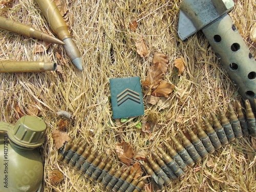 Military rank with ammunition from World War 2 and drinking bottle Poster