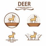 Set of Deer Logo Vintage and Hunting Club Badge Vector Illustration