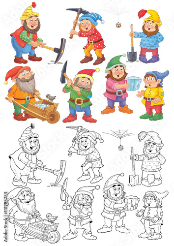 Snow White and the seven dwarfs. Coloring page. Fairy tale. Illustration for children. Cute and funny cartoon characters - 141285753