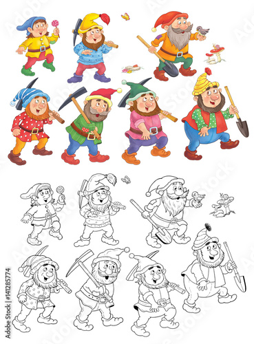 Snow White and the seven dwarfs. Coloring page. Fairy tale. Illustration for children. Cute and funny cartoon characters - 141285774