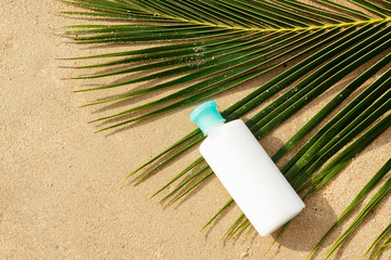 Bottle of sun protection lotion