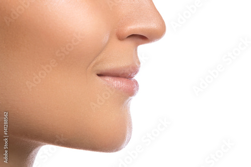 Female lips on white background Poster