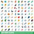 100 www icons set, isometric 3d style
