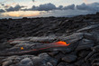 Lava Fields with Active Flow at Sunrise on Hawaii
