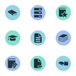 Vector Illustration Set Of Simple Reading Icons. Elements Page Removing, Sketchbook, Stack And Other Synonyms Information, Journal And Delete.