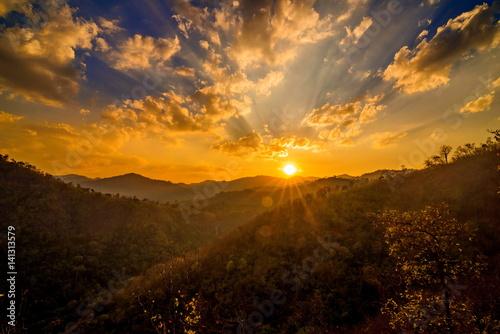 Naklejka sunset in the mountai