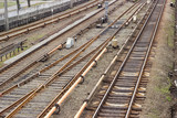 Railroad tracks on the the overground part of metro line