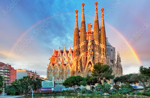 Leinwandbild Motiv Sagrada Familia in Barcelona, Spain,
