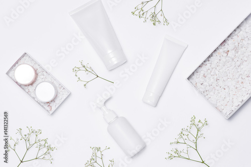 Fototapeta Cosmetics SPA branding mock-up, top view, on white background.