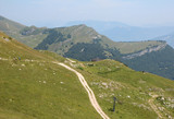 Hiking trail in the mountain Monte Baldo,Lake Garda.Italy