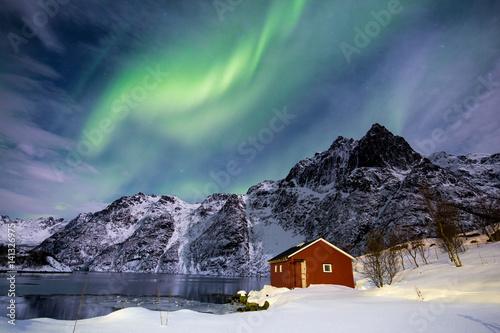 Fotobehang Noorderlicht Northern lights in Norway