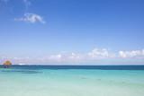 Tropical pier. Seascape from the Caribbean ocean.