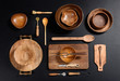 Collection of Wood Kitchen Bowls and Utensils