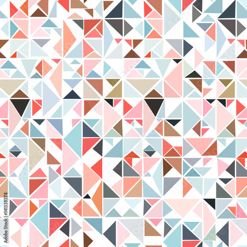 Seamless geometric pattern from triangles of different colors on a white background.