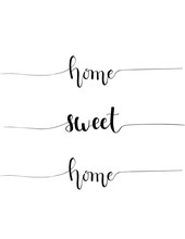Handdrawn Home Sweet Home Proverb Calligraphy Design For Interior House Decoration Sticker