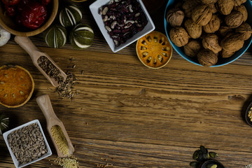Raw legume on old rustic wooden table, Healthy Food