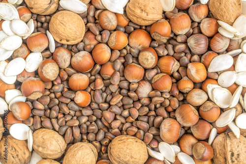 Plagát, Obraz Collection of Walnuts, Hazelnuts, Pine Nuts and Pumpkin seeds