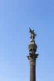 The Columbus Monument showing Christopher Columbus at the lower end of La Rambla, Barcelona, Catalonia, Spain