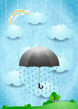 Surreal landscape with umbrella and rain, vertical version