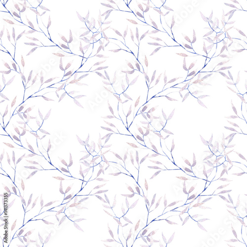 Seamless floral pattern with watercolor purple tree branches, hand drawn on a white background - 141373355