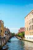 Fototapeta Beautiful view of water street and old buildings in Venice, ITALY
