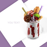 Extreme milkshakes. Space for Text. 3d rendering dessert illustration.