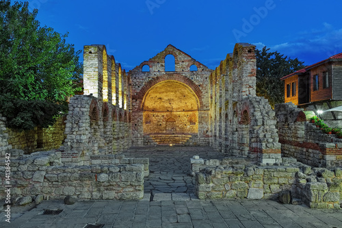 Poster Ruins of Hagia Sophia Church of the 5th-6th century in Nessebar in dusk, Bulgari