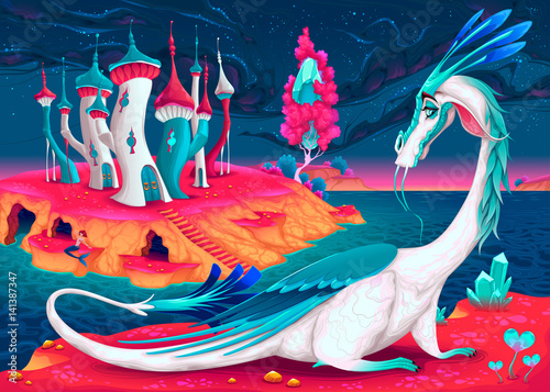 Foto op Canvas Kinderkamer Cartoon dragon in a fantasy world. Vector illustration