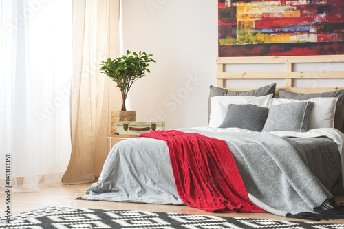 Grey bed with red blanket