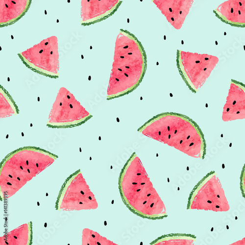 Seamless watermelon pattern. Vector summer background with watercolor watermelon slices. - 141389395