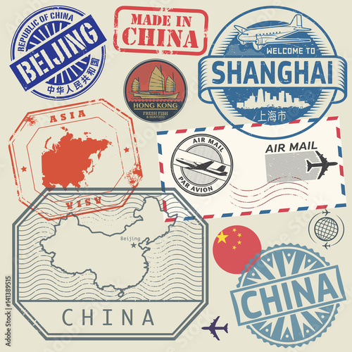 Travel stamps set with the text China, Shanghai, Beijing