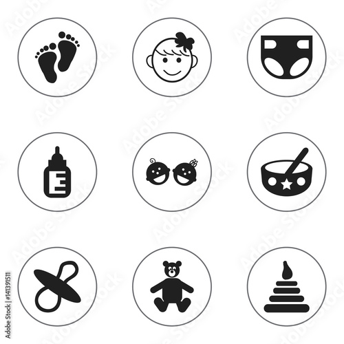 Set Of 9 Editable Infant Icons. Includes Symbols Such As Nursing Bottle, Nappy, Cheerful Child And More. Can Be Used For Web, Mobile, UI And Infographic Design.