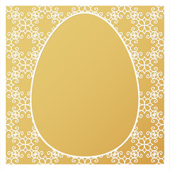 Laser cut template with egg, decorative frame with space for text or photo and golden background. © ederella