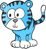 Cute Happy Tiger Vector Illustration Art