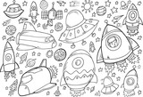 Outer Space Doodle Vector Illustration Set