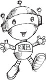 Robot Doodle Sketch Vector Illustration Art