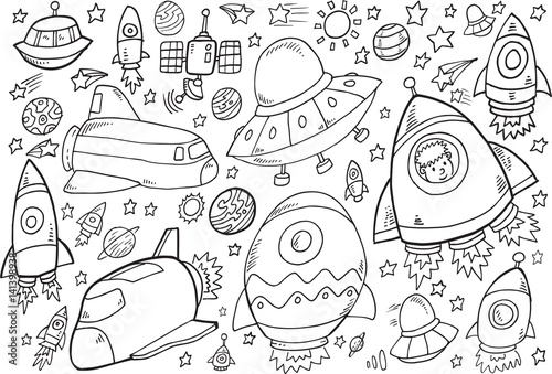Staande foto Cartoon draw Outer Space Doodle Vector Illustration Set