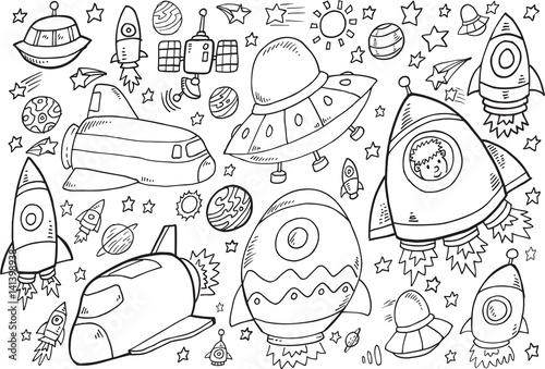 Fotobehang Cartoon draw Outer Space Doodle Vector Illustration Set
