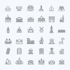 Building Icons set, Government. Landmarks