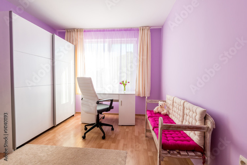 Bright Purple Children's Room in Modern Home