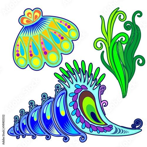 SeaShells and Seaweed Deorative Elements