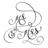 Hand drawn Calligraphy Mr and Mrs text. lettering Vector illustration EPS10 - 141408152
