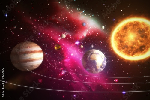 Poster Composite image of solar system against white background 3d