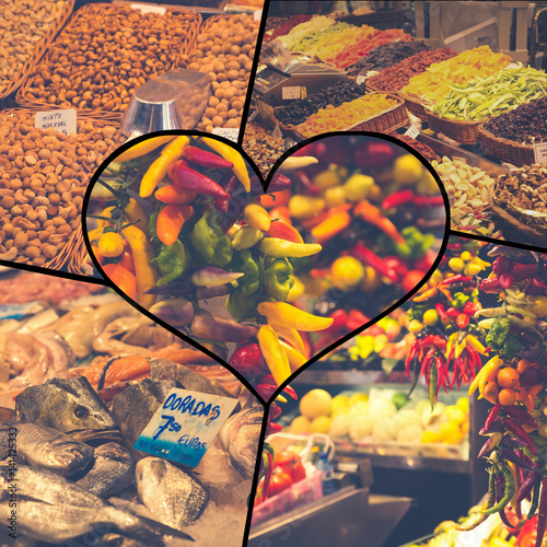 Collage of Fruits and vegetables stall in La Boqueriamarket in Barcelona.
