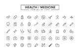 Health Medicine Line Icon Set - 141429736