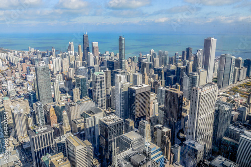 panoramic view of the city of Chicago in Illinois United States in autumn