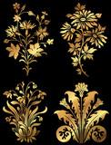 Golden wildflower design icons