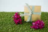Gift box with flowers on grass - 141448365